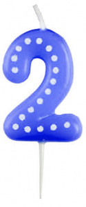Amscan number candle 2 wax 6,5 cm blue