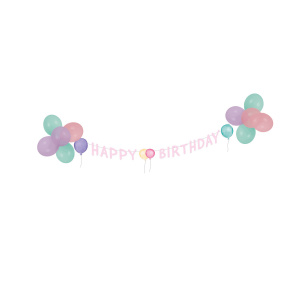 Amscan decoration set Happy Birthday paper/latex pastel