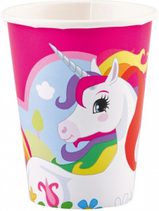 Amscan party cups unicorn girls 250 ml white/pink 8 pieces