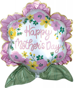 Amscan folieballon Happy Mother's Day! 63 x 68 cm roze/wit/groen