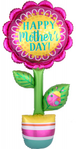 Amscan folieballon Happy Mother's Day! 66 x 160 cm groen/roze