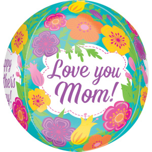 Amscan folieballon Tropical Flowers Love you mom! 38 x 40 cm