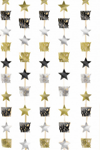 Amscan hangdecoratie Happy New Year 200 cm folie zilver/goud