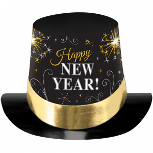 Amscan hoed Happy New Year 29,7,2 cm papier zwart/wit/goud