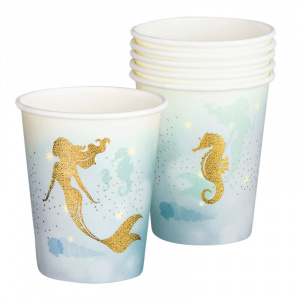 Boland cups mermaid 25 cl paper gold/blue 6 pieces