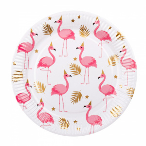 Boland plates flamingo 23 cm paper white 6 pieces