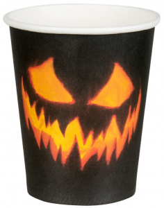 Boland party cups Creepy Pumkin 250 ml paper black 6 pieces