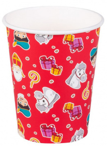 Boland party cups Sinterklaas 250 ml paper red 6 pieces