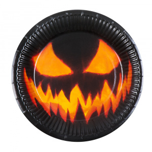 Boland party plates Creepy Pumpkin junior 23 cm black 6 pieces