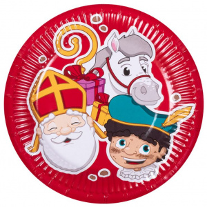 Boland party signs Sinterklaas 18 cm cardboard red 6 pieces