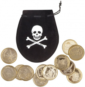 Boland pirate bag with coins 4 cm polyester black/gold 13-piece