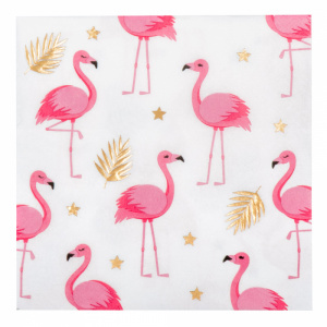 Boland napkins flamingo 33 cm paper white/pink 12 pieces