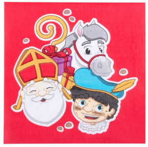 Boland napkins Sinterklaas 33 x 33 cm paper red 12 pieces