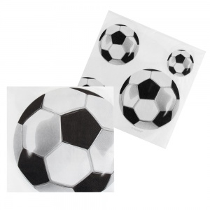 Boland napkins football 33 cm black/white 12 pieces