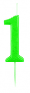 Boland number candle 1 wax 14 cm green