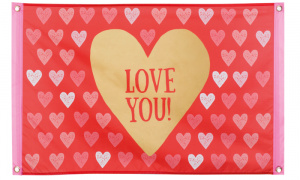Boland vlag Love You 60x90 cm polyester rood/roze/goud