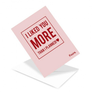 Fisura card I like you more than planned 5,5 x 21 cm paper pink