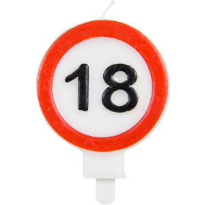 Folat candle traffic sign 18 years 6 x 8 cm wax red/white