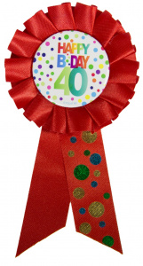 Folat rosette Happy Birthday 40 years 36 cm red