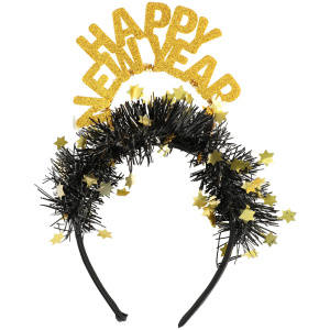 Folat tiara Happy New Year dames zwart/goud