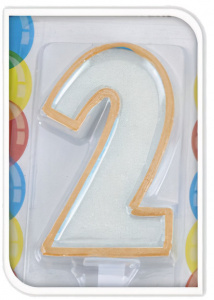 Free and Easy bougie d'anniversaire 2 ans 17,5 cm cire orange