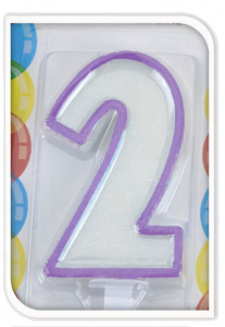 Free and Easy birthday candle 2 years 17,5 cm wax purple