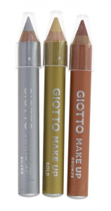 Giotto schminkpotloden make up 6 gram wax metallic 3 stuks