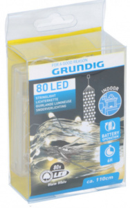 Grundig kerstverlichting led 1,1 meter rubber 80 led geel