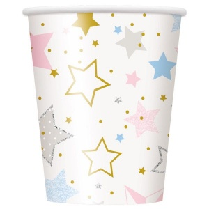 Haza Original feestbekers Twinkle Star 270 ml 8 stuks wit