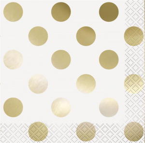 Haza Original napkins Dots 33 x 33 cm paper white/gold 16 pieces