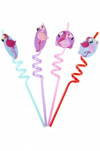 LG-Imports straws flamingo 4 pieces