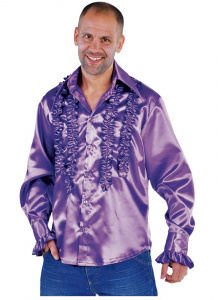 Magic Design verkleedblouse Rouches heren polyester paars