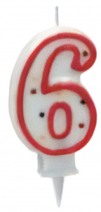 Metaltex number candle 6 wax 8 cm red/white