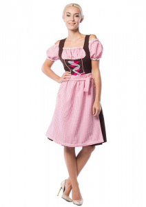 Partychimp dirndl Anne-Ruth Lang dames polyester roze/bruin