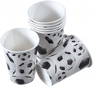 tib party cups Football cardboard junior white/black 260 ml 8 pieces
