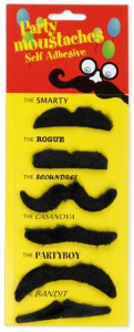 TOM adhesive moustaches polyester black 6 pieces