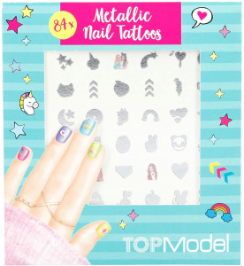 TOPModel nail sticker set girls silver 84 pcs