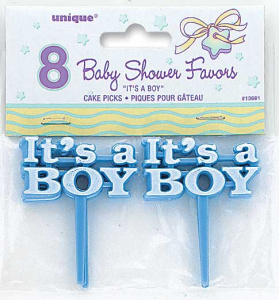 Unique birth prick It's A Boy boys 6 cm blue 8 pieces