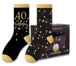 Witbaard gift socks 40 years polycotton black/gold 2-piece