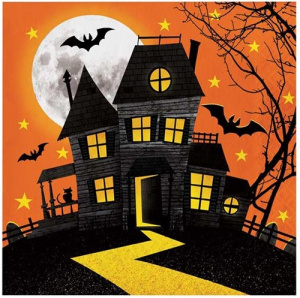 Witbaard napkins Haunted Hill 33 cm paper orange 16 pieces