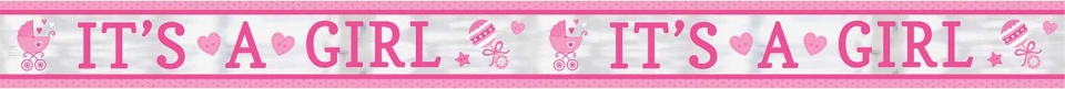 Amscan banner 'it's a girl' 635 cm roze