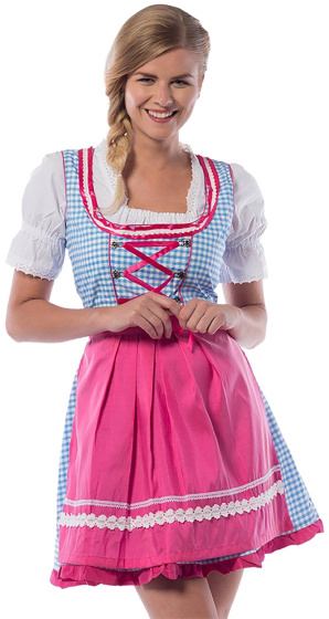 Partychimp dirndl Jill dames polyester blauw/roze