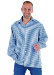 Magic Design hemd Boeren-look heren polyester blauw/wit