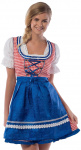 Partychimp dirndl Jill dames polyester blauw/rood
