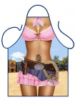 Partychimp schort Cowgirl 80 cm polyester bruin/roze one-size